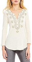 Lucky Brand Embroidered Bib V-Neck Knit Top