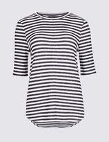 Marks and Spencer Striped Warm Handle Half Sleeve T-Shirt