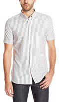 French Connection Men's Volley Stripe Short Sleeve Button Down Shirt