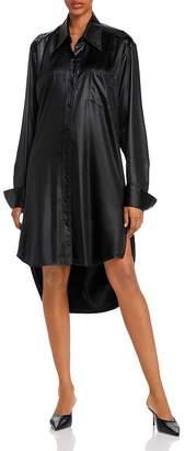 Alexander Wang Wet Shine Wash & Go Oversized Button-Down Dress