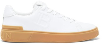 Balmain Embossed B-logo Leather Trainers - White