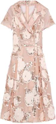 Lela Rose Metallic Fil Coupe Organza-jacquard Midi Dress
