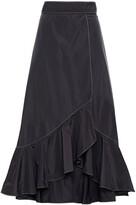 Thumbnail for your product : Ganni Ruffled Shell Midi Wrap Skirt