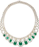 Amrapali 18K White Gold, Emerald, Natural Yellow And White Diamond Nec