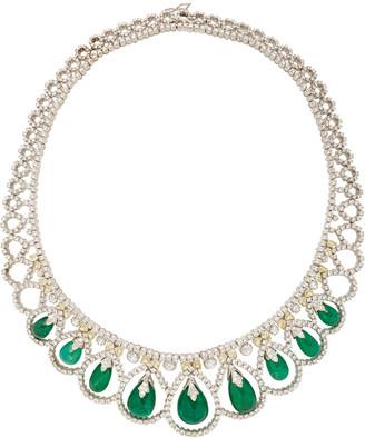 Amrapali 18K White Gold, Emerald, Natural Yellow And White Diamond Nec