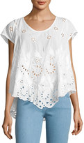 Johnny Was Jen Eyelet Flair Blouse, White