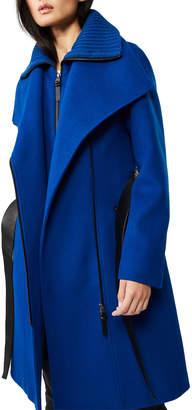 Mackage Nori Midi Asymmetric-Zip Wrap Coat