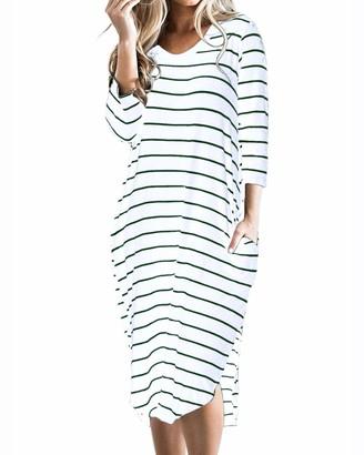 CNFIO Women T Shirt Dress Oversized Boho Stripes Dress Autumn 3/4 Long Sleeves Dresses with Pocket Blue M/UK 12