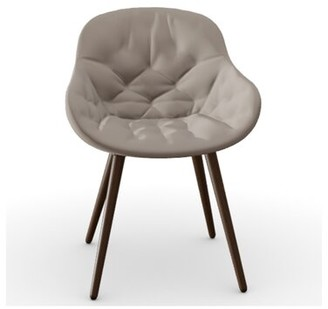 Calligaris Igloo Tufted Upholstered Queen Anne back Side Chair Frame Color: Smoke Ash Wood, Upholstery Color: Sand Venice