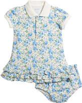 Ralph Lauren Childrenswear Girl's Floral Interlock Ruffle Polo Dress w/ Bloomers, Size 6-24 Months