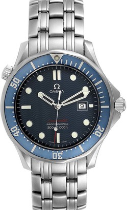 Omega Blue Stainless Steel Seamaster Bond 300M 2221.80.00 Men's Wristwatch 41 MM