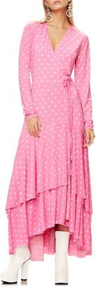 AFRM Elodie Ruffle Hem Long Sleeve Wrap High/Low Dress
