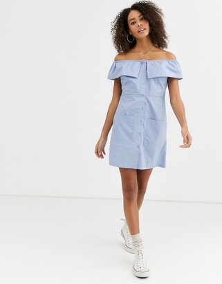 Urban Bliss orla off shoulder dress with button through and pockets