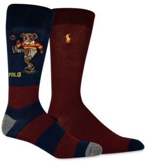 Polo Ralph Lauren Men's 2-Pk. Rugby Kicker Bear Slack Socks