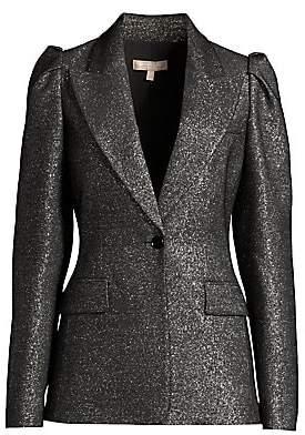 Michael Kors Women's Metallic Wool Puff-Sleeve Blazer
