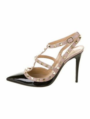 Valentino Rockstud Accents Patent Leather T-Strap Pumps Black