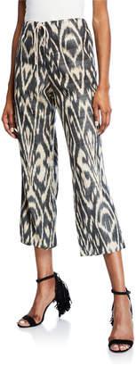 Oscar de la Renta Ikat-Patterned Cropped Pants