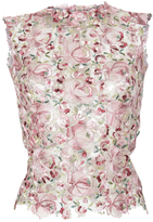 Luisa Beccaria Tulle Flowers Embroidered Top