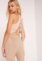 Missguided Faux Suede Lace Up Back Crop Top Nude