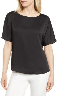 Vince Camuto Pleat Back Hammer Satin Top (Regular & Petite)