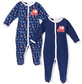 Sweet & Soft Navy Car & ABCs Footie Romper Set