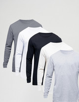 Asos 5 Pack Relaxed Longline Long Sleeve T-Shirt SAVE