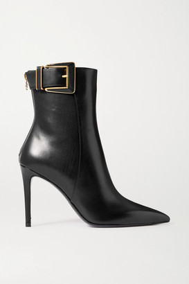 Balmain Payton Buckled Leather Ankle Boots - Black