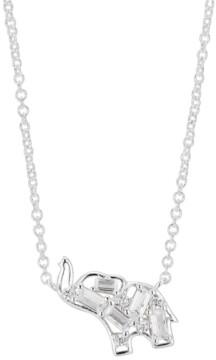"Unwritten Crystal Baguette Elephant Pendant Necklace in Fine Silver-Plate, 16"" + 2"" extender"
