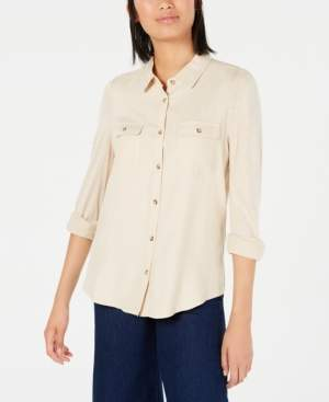 Ultra Flirt Juniors' Mixed-Media Utility Shirt