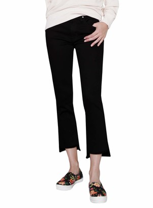 James Jeans Women's Straight Leg Jean with Hi Lo Hem in Flat Black 24