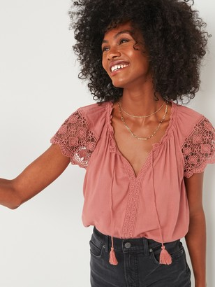 Old Navy Relaxed Tie-Neck Crochet-Lace Sleeve Blouse for Women