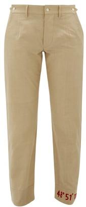 BEIGE Kilometre Paris - Coordinate-embroidered Slim Cotton Trousers - Womens