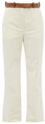 Hillier Bartley Snake-effect Belted Cotton-corduroy Trousers - Cream