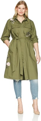 Rachel Roy Women's Plus Size Curvy Embroidered Canvas Duster