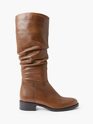 John Lewis & Partners Sierra Leather Rouched Calf Boots, Tan