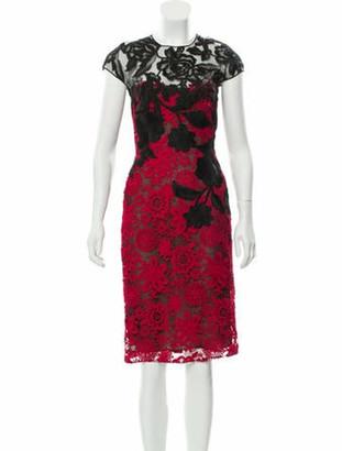 Naeem Khan Guipure Lace Midi Dress Red