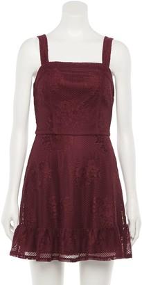 Speechless Juniors' Princess Seam Ruffle Lace Dress