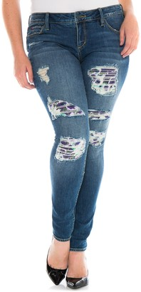 SLINK Jeans Floral Patch Distressed Skinny Jeans (Plus Size)