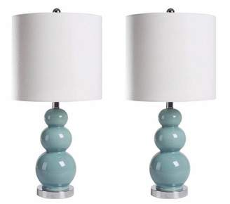 Abbyson Living (Set of 2) Cameron Gourd French Table Lamps Blue