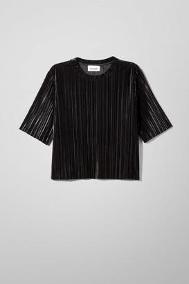 Weekday Elsa Velvet T-shirt - Black