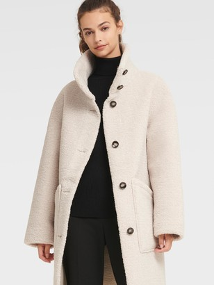 DKNY Women's Long Faux Shearling Coat - Pumice - Size L