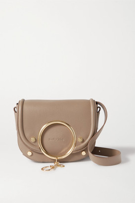 See by Chloe Mara Embellished Leather Shoulder Bag - Mushroom