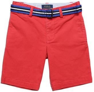 Ralph Lauren Stretch Cotton Gabardine Shorts W/ Belt