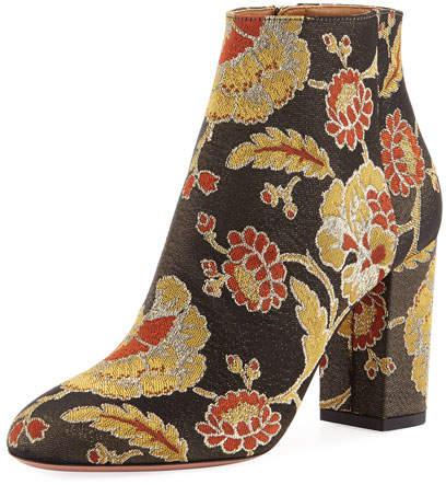 Aquazzura Brooklyn Rose Jacquard Boot, Black
