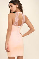 Solemio Endlessly Alluring Blush Pink Lace Bodycon Dress