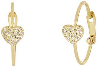 Bony Levy 18K Gold Petite Diamond Heart Huggie Earrings - 0.24 ctw