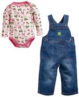 John Deere Baby Girl Print Bodysuit & Denim Overalls Set