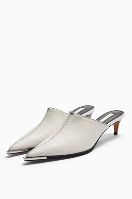 Topshop JUICY White Leather Western Mules