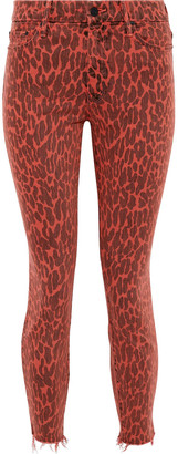 Mother The Looker Cropped Leopard-print High-rise Skinny Jeans