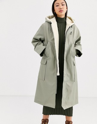 Asos borg and PU parka coat